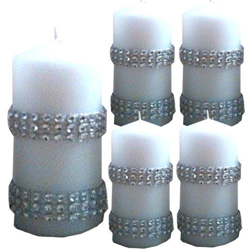 4er set deko kerzen adventskerzen 100x50 mit strass band. Black Bedroom Furniture Sets. Home Design Ideas