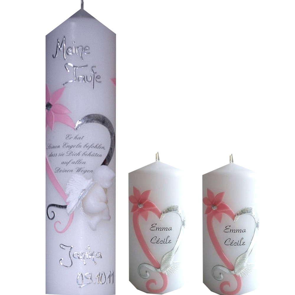 Taufkerze Spruch Engel Mädchen rosa
